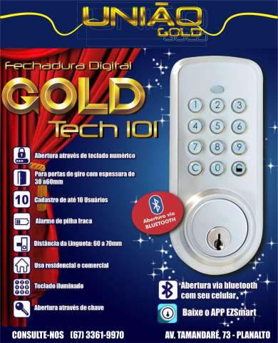 FECHADURA DIGITAL GOLD TECH 101 BLUETOOTH